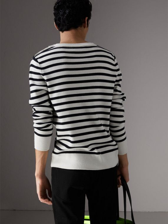 Bird Button Breton Stripe Wool Cashmere Sweater in Natural White - Men | Burberry - cell image 2