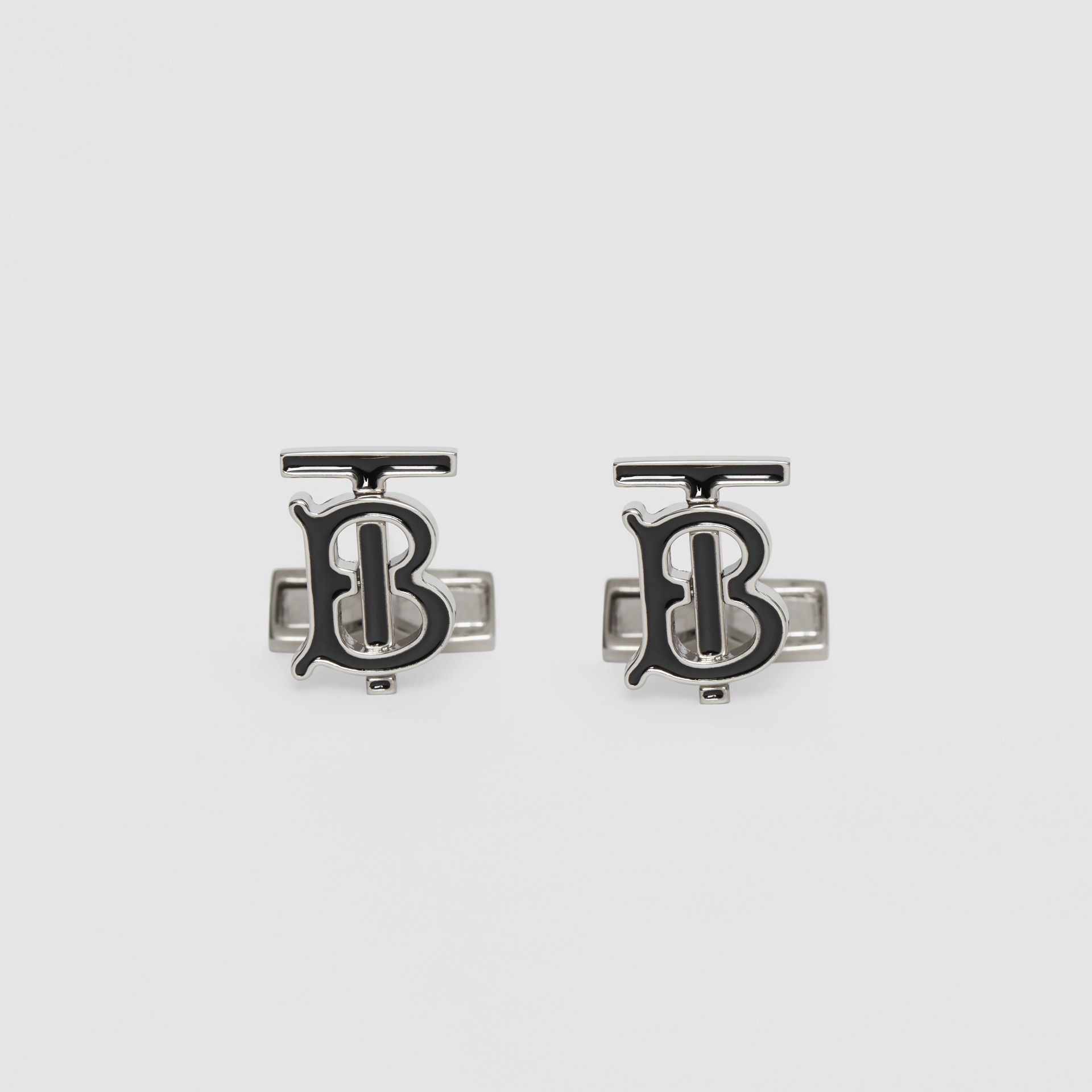 Monogram Motif Enamel and Palladium-plated Cufflinks in Palladium/black - Men | Burberry Singapore - gallery image 0