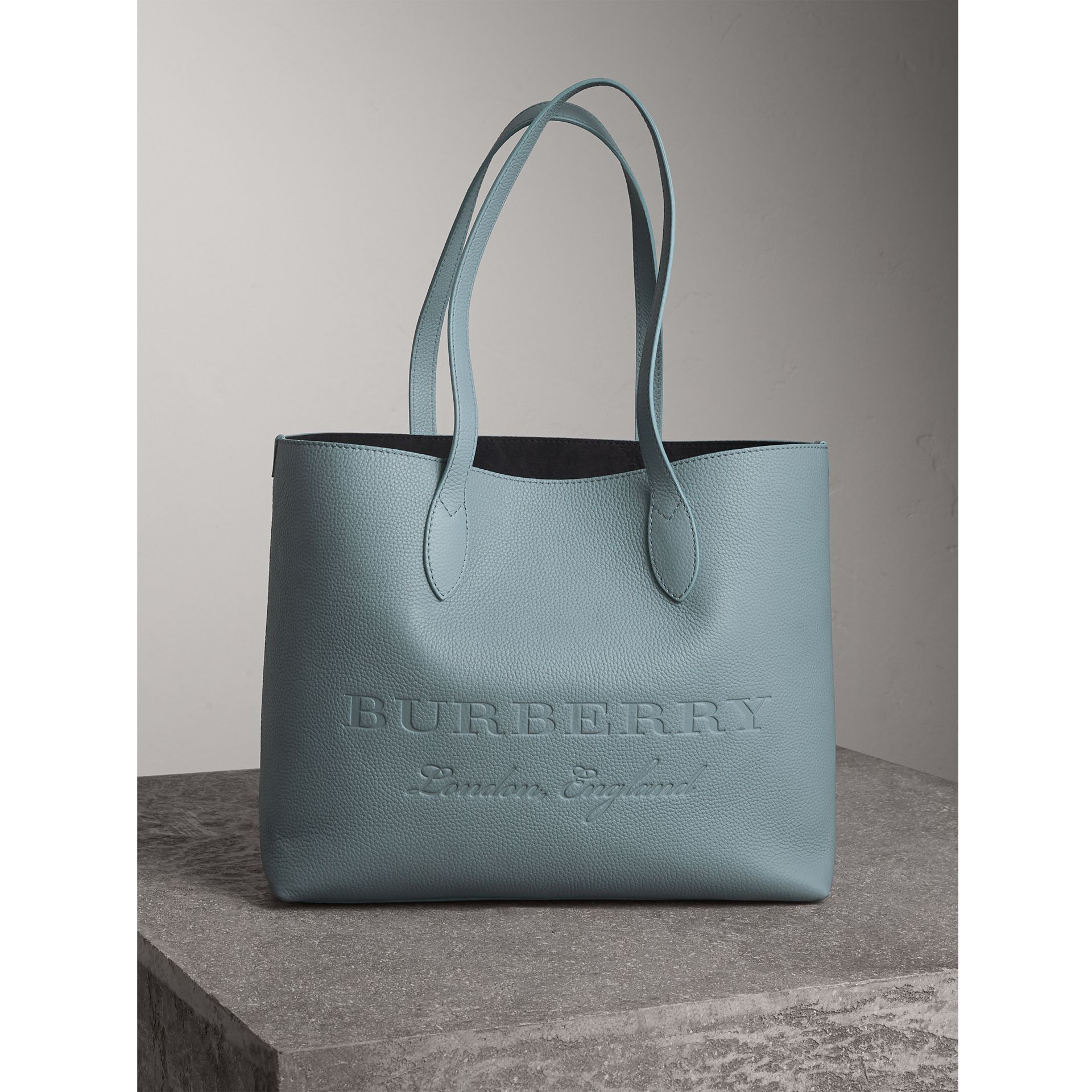 Large Embossed Leather Tote in Dusty Teal Blue | Burberry - gallery image 1