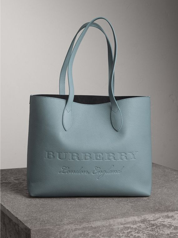 Large Embossed Leather Tote in Dusty Teal Blue