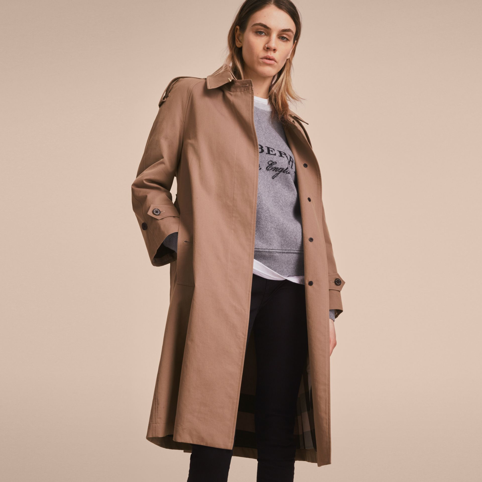 Taupe Tropical Gabardine Trench Coat - gallery image 8
