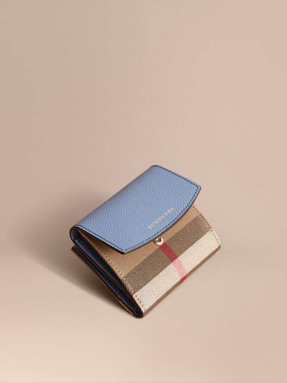 House Check and Leather Wallet in Slate Blue - Women | Burberry