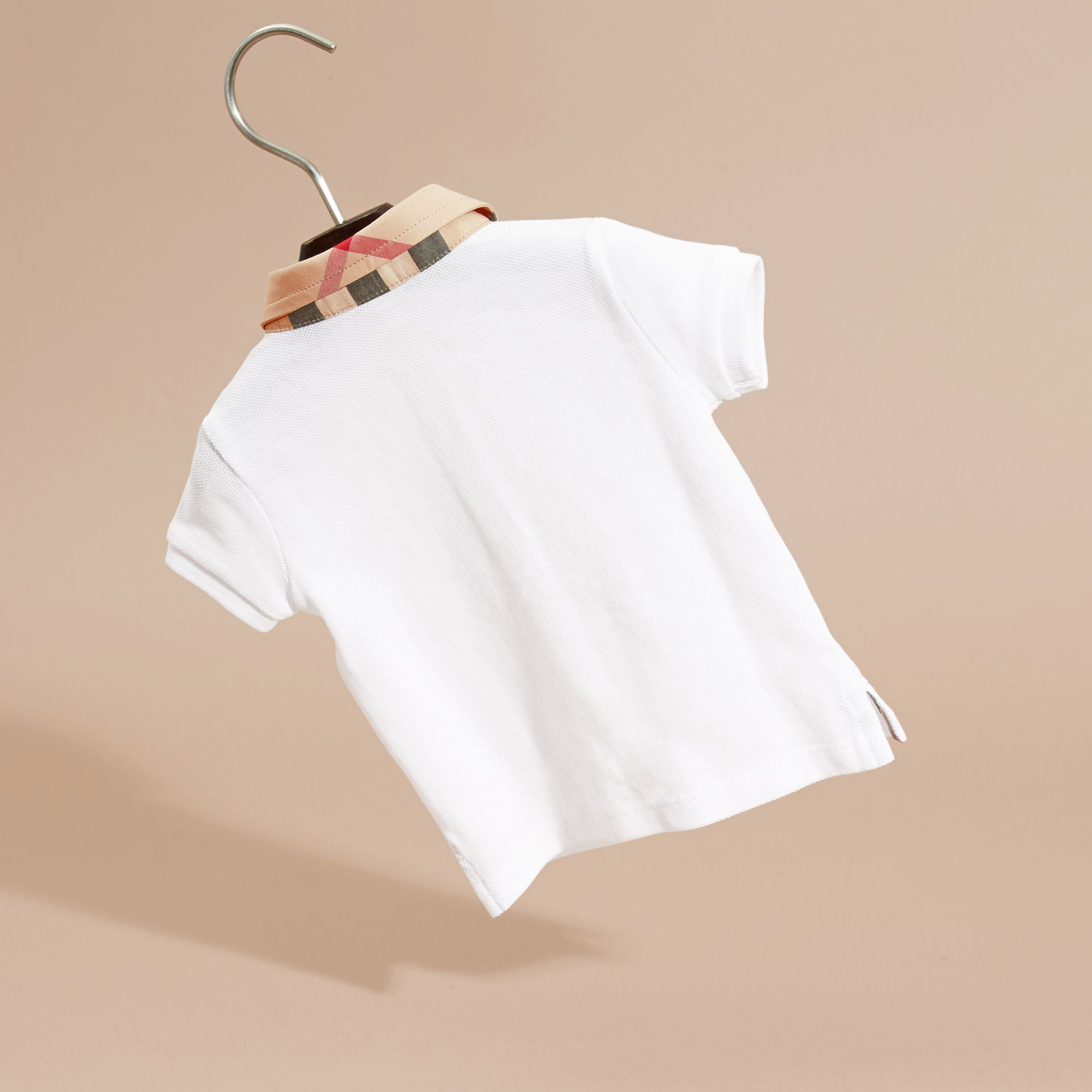 Check Collar Cotton Polo Shirt in White | Burberry - gallery image 4