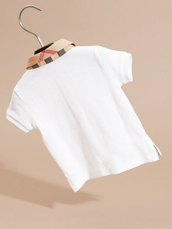 Check Collar Cotton Polo Shirt in White | Burberry - cell image 3