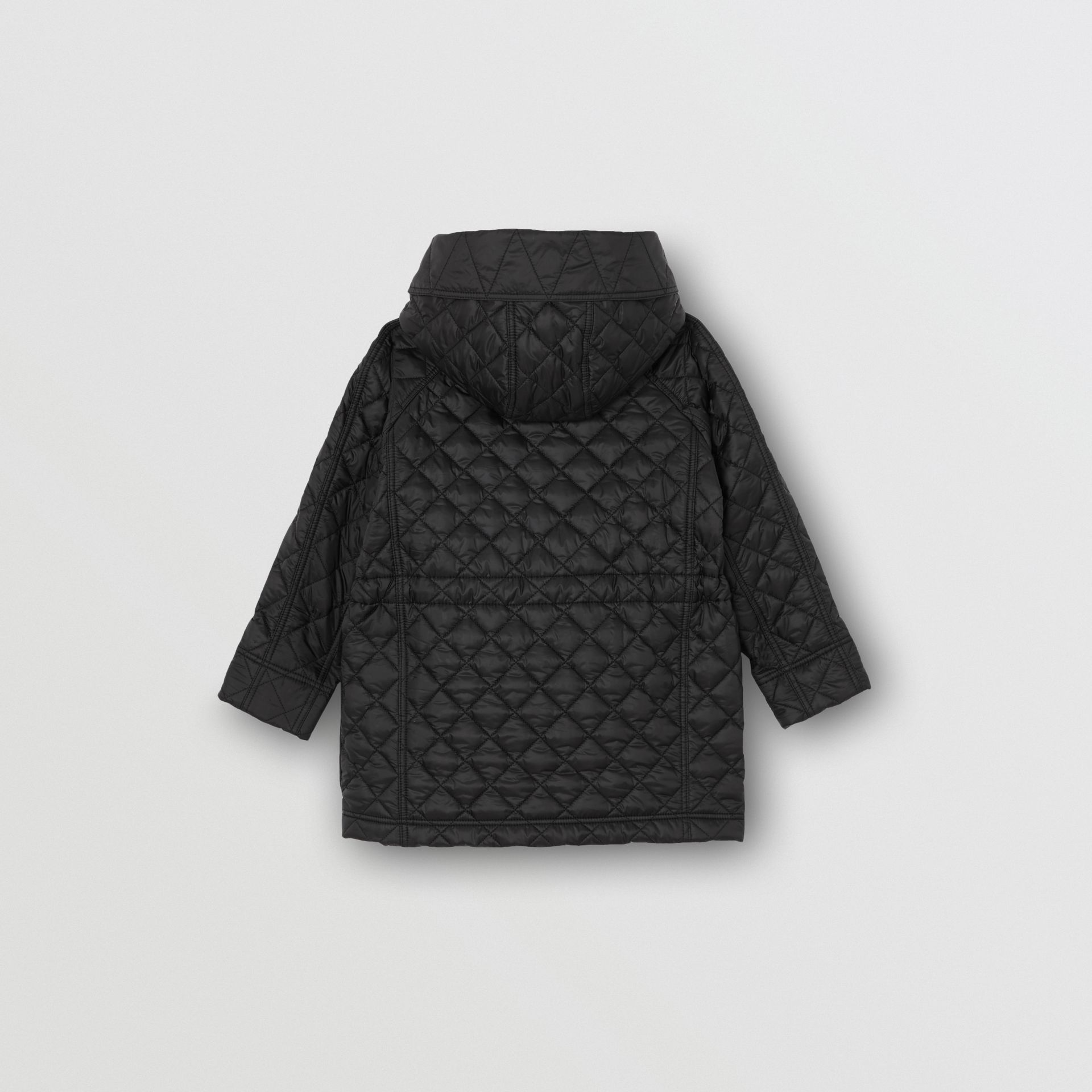 Diamond Quilted Hooded Coat in Black | Burberry Australia - gallery image 3