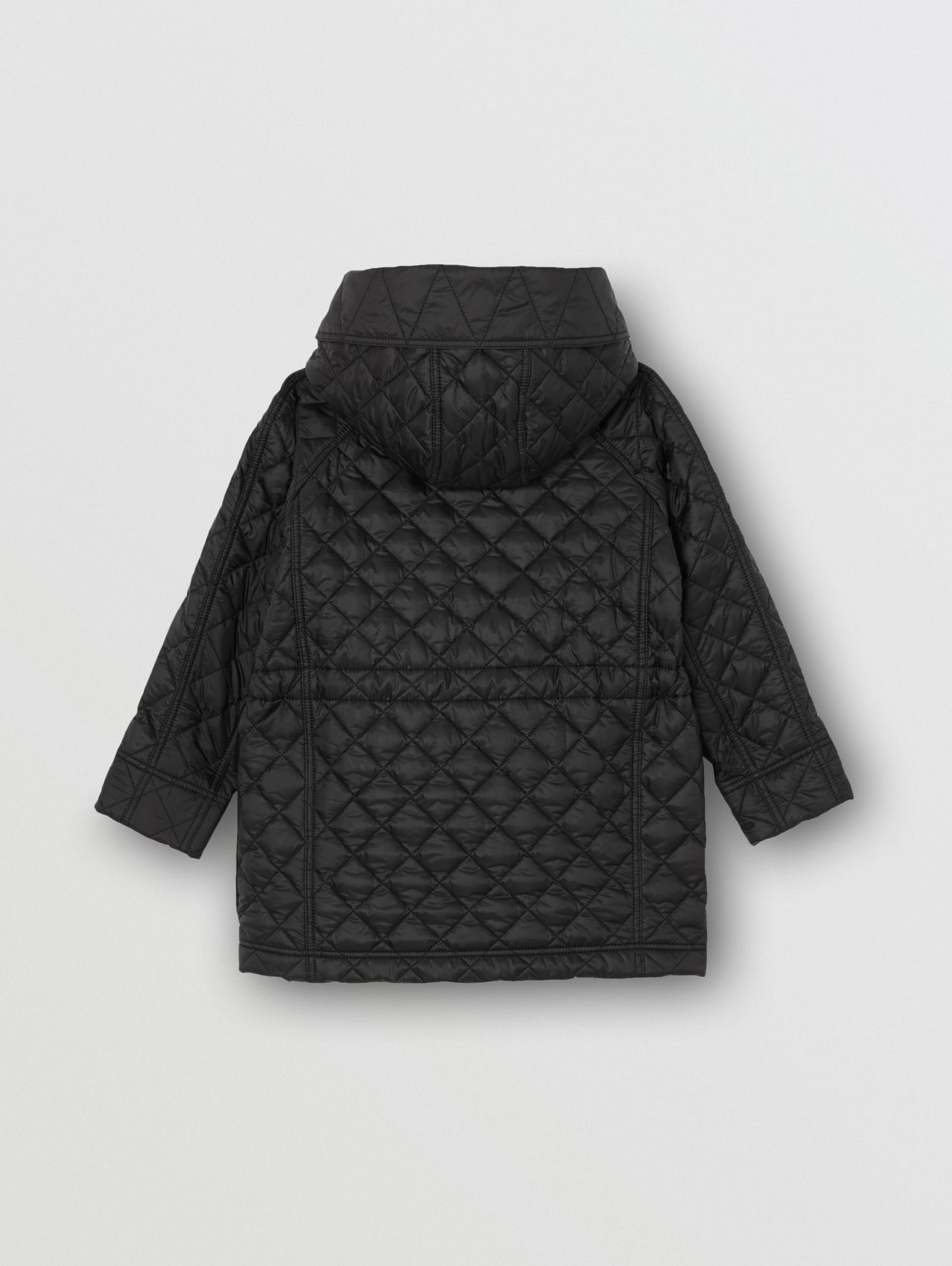 Diamond Quilted Hooded Coat in Black