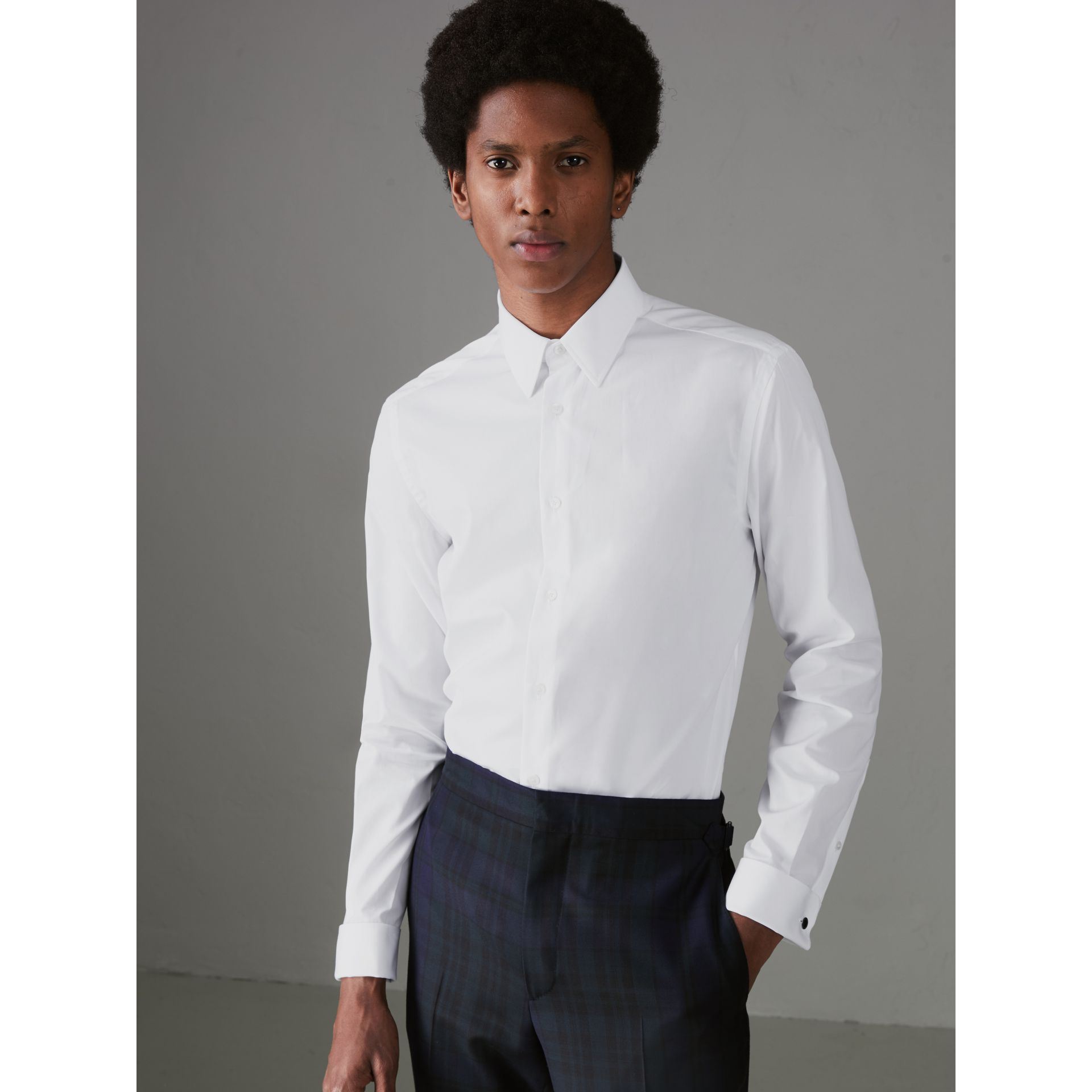 Slim Fit Double Cuff Cotton Poplin Shirt in White - Men | Burberry - gallery image 0