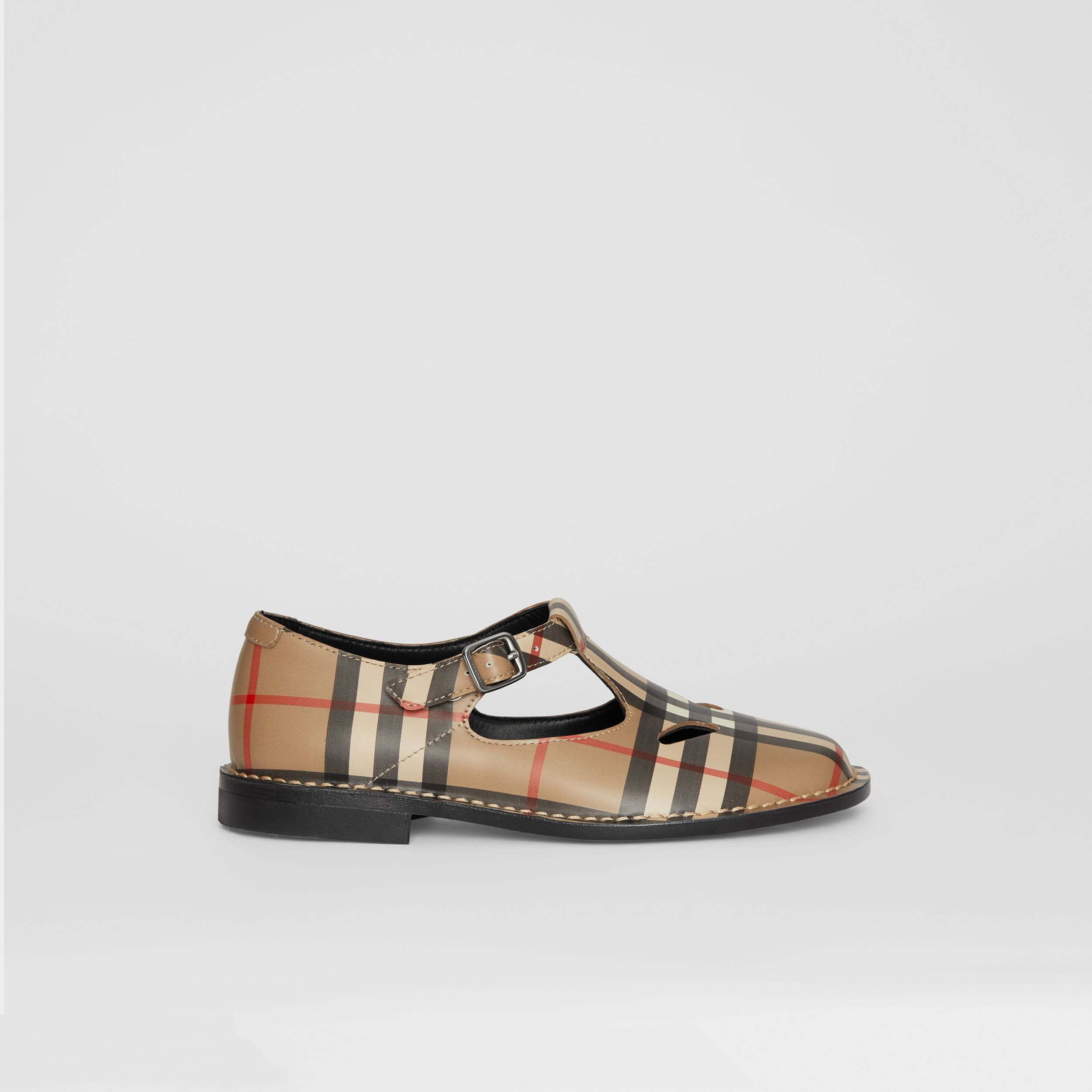Vintage Check Leather Mary Jane Shoes in Archive Beige - Children | Burberry - 4