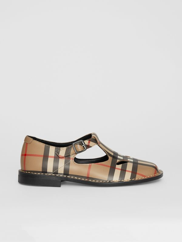 Vintage Check Leather Mary Jane Shoes in Archive Beige - Children | Burberry - cell image 3