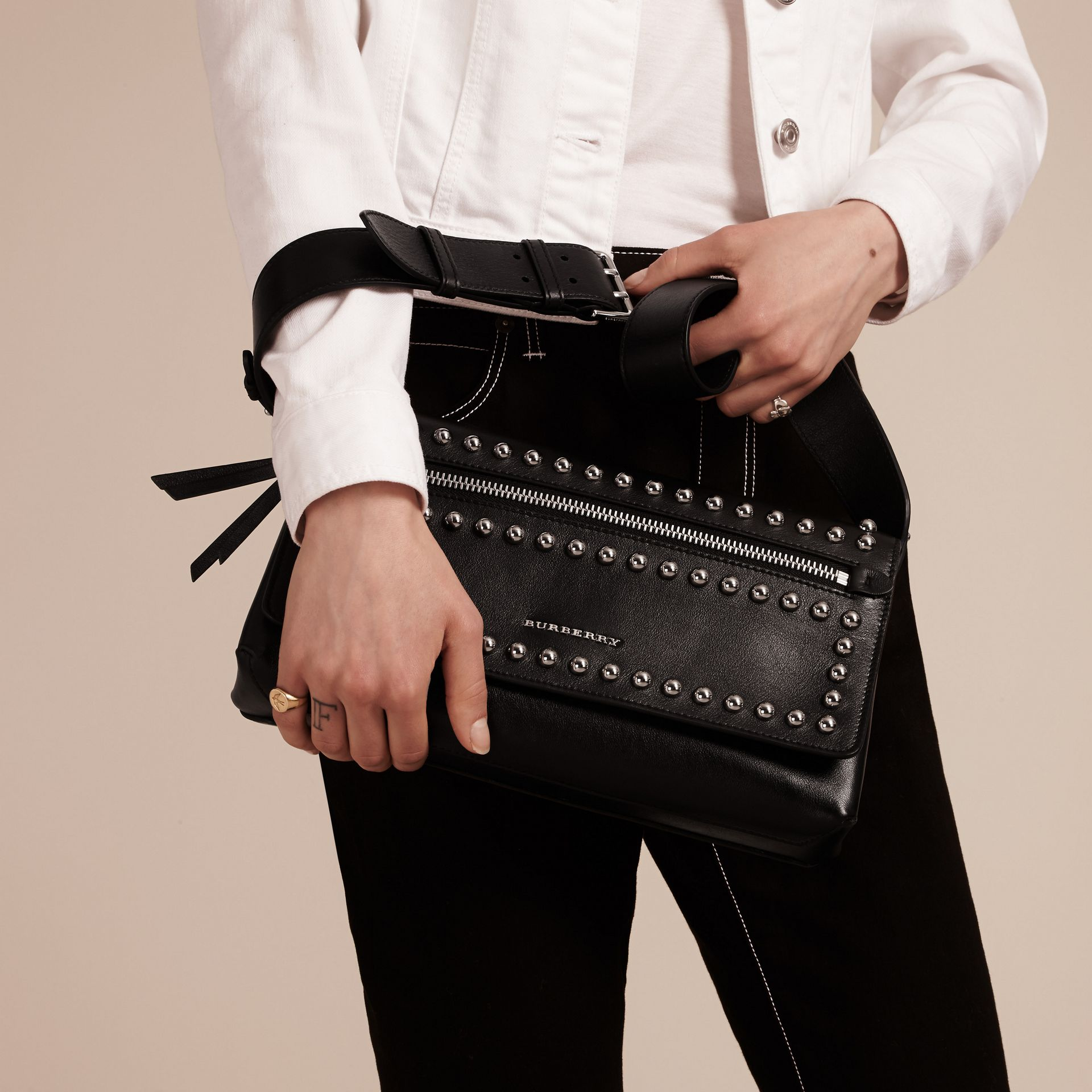 Black Smooth Leather Clutch Bag with Stud Detail - gallery image 3