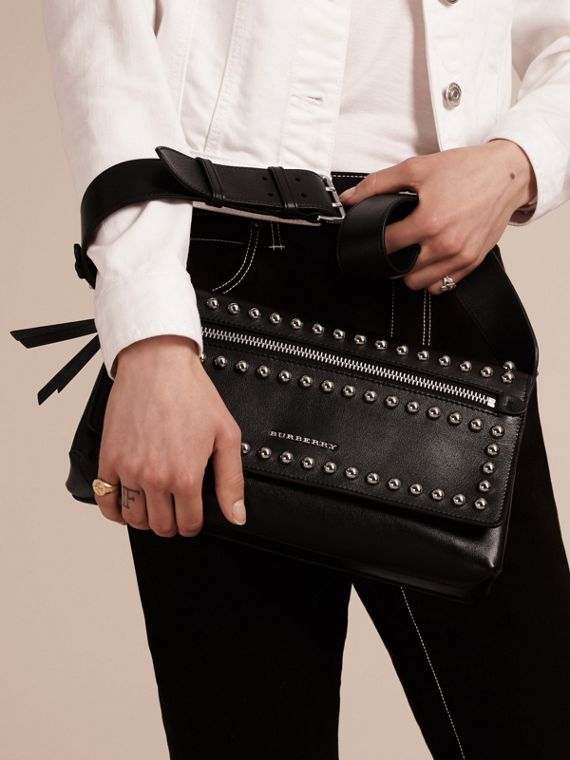Black Smooth Leather Clutch Bag with Stud Detail - cell image 2