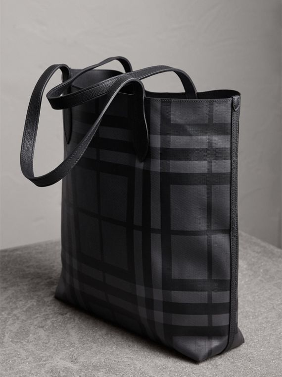 Medium London Check and Leather Tote in Charcoal/black - Men | Burberry - cell image 2