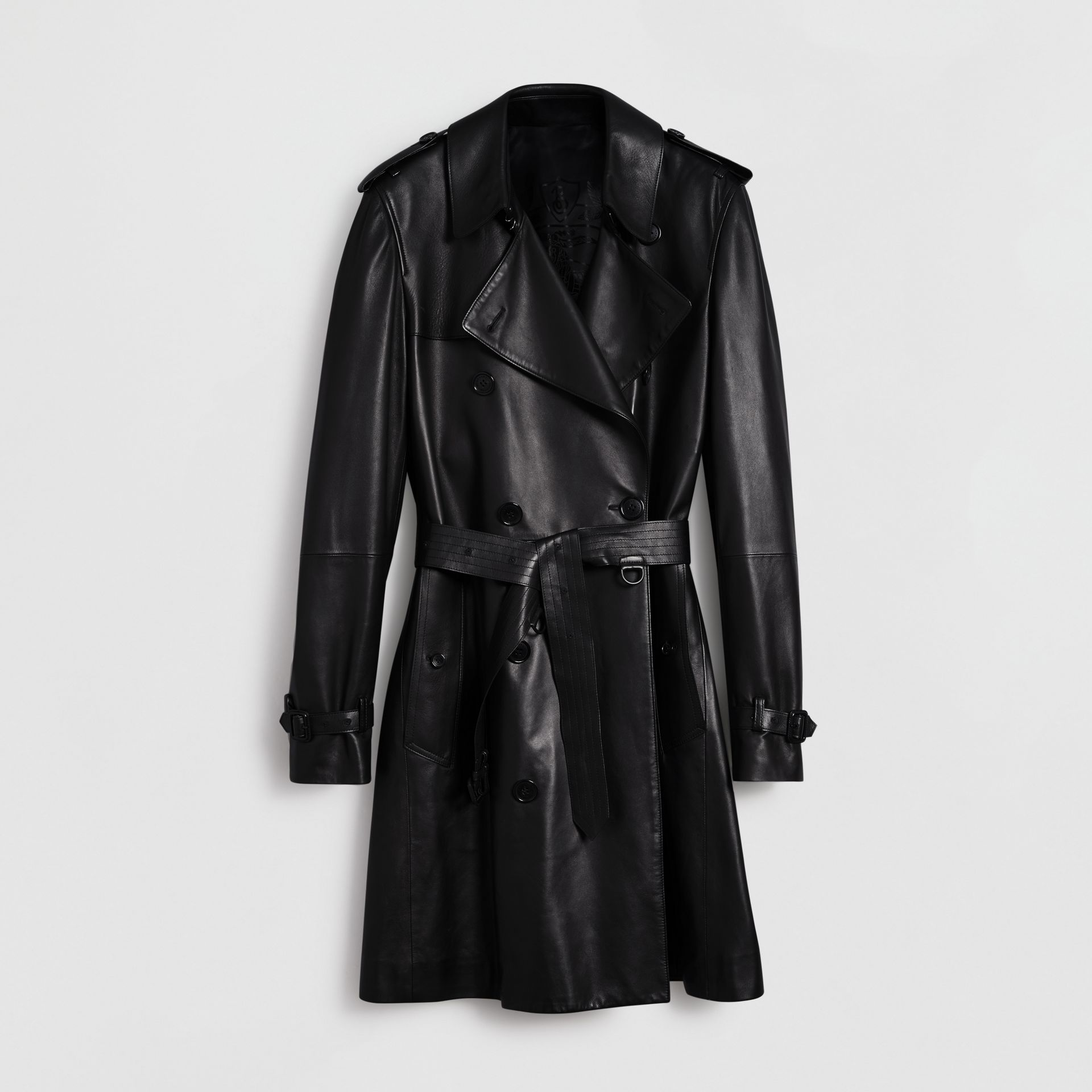 Lambskin Trench Coat in Black - Men | Burberry - gallery image 3