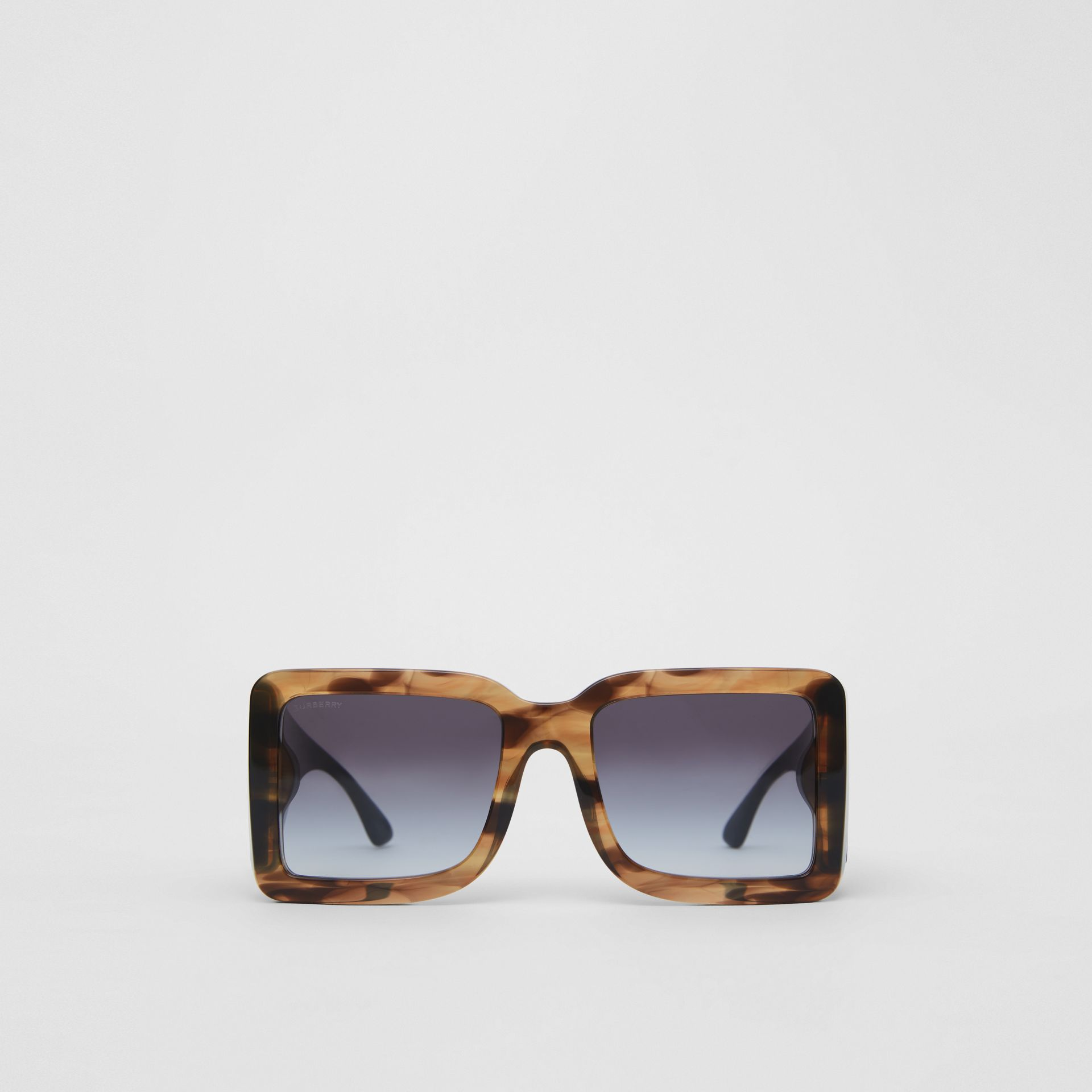 B Motif Square Frame Sunglasses in Tortoise Green - Women | Burberry Australia - gallery image 0