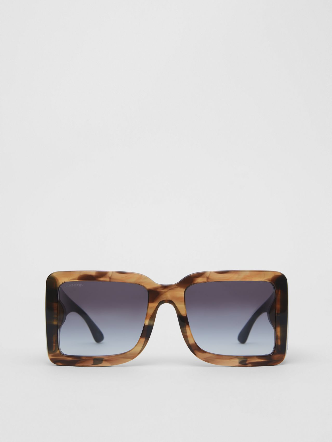 B Motif Square Frame Sunglasses in Tortoise Green