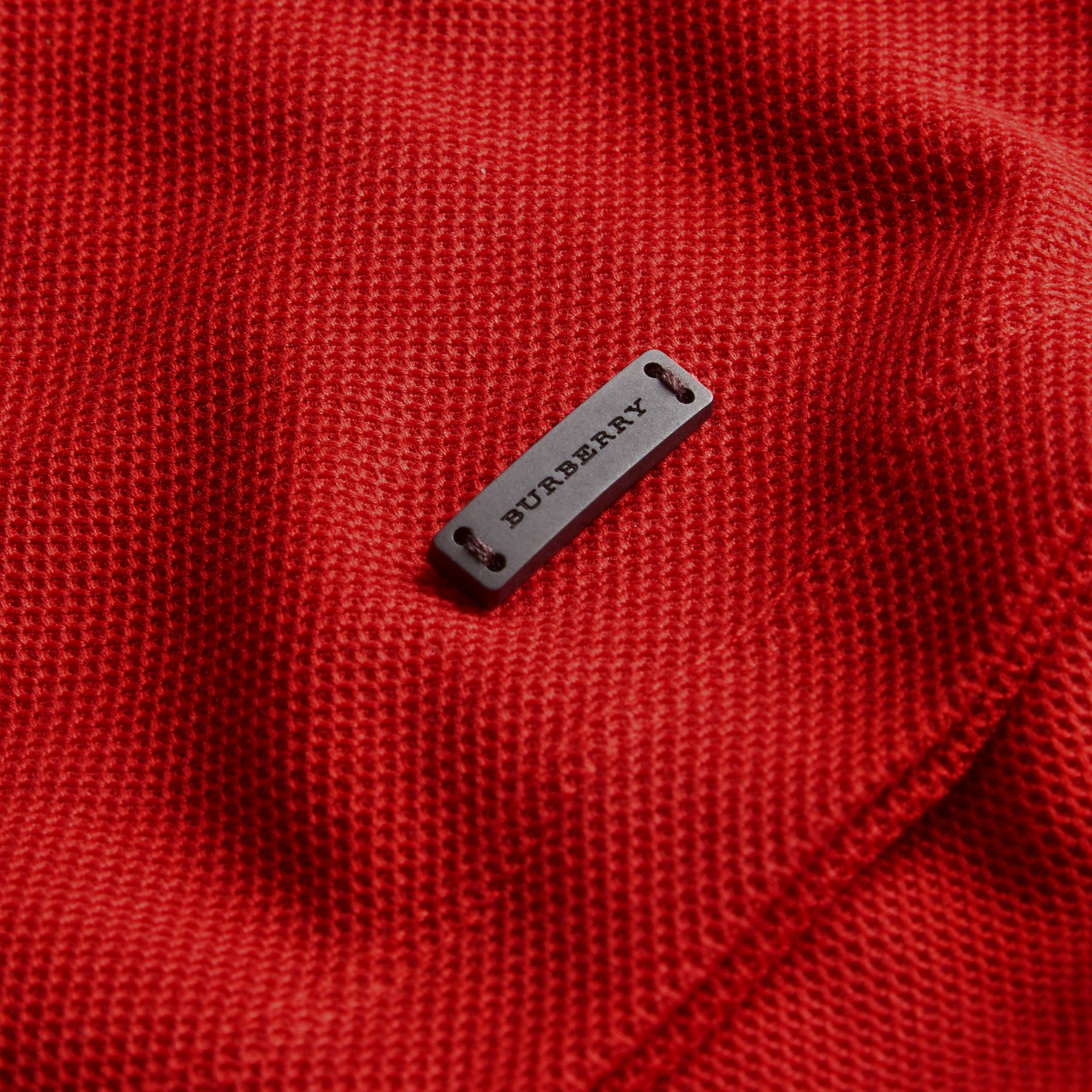 Striped Collar Cotton Piqué Polo Shirt in Uniform Red - gallery image 2