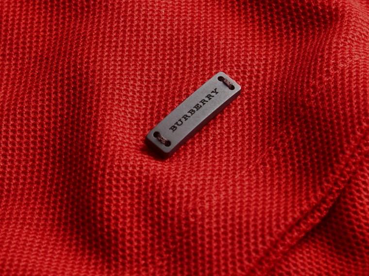 Polo en piqué de coton avec col rayé Rouge Uniforme - cell image 1