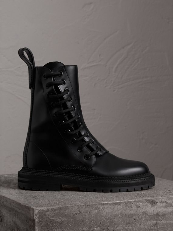 Leather Asymmetric Lace-up Boots in Black