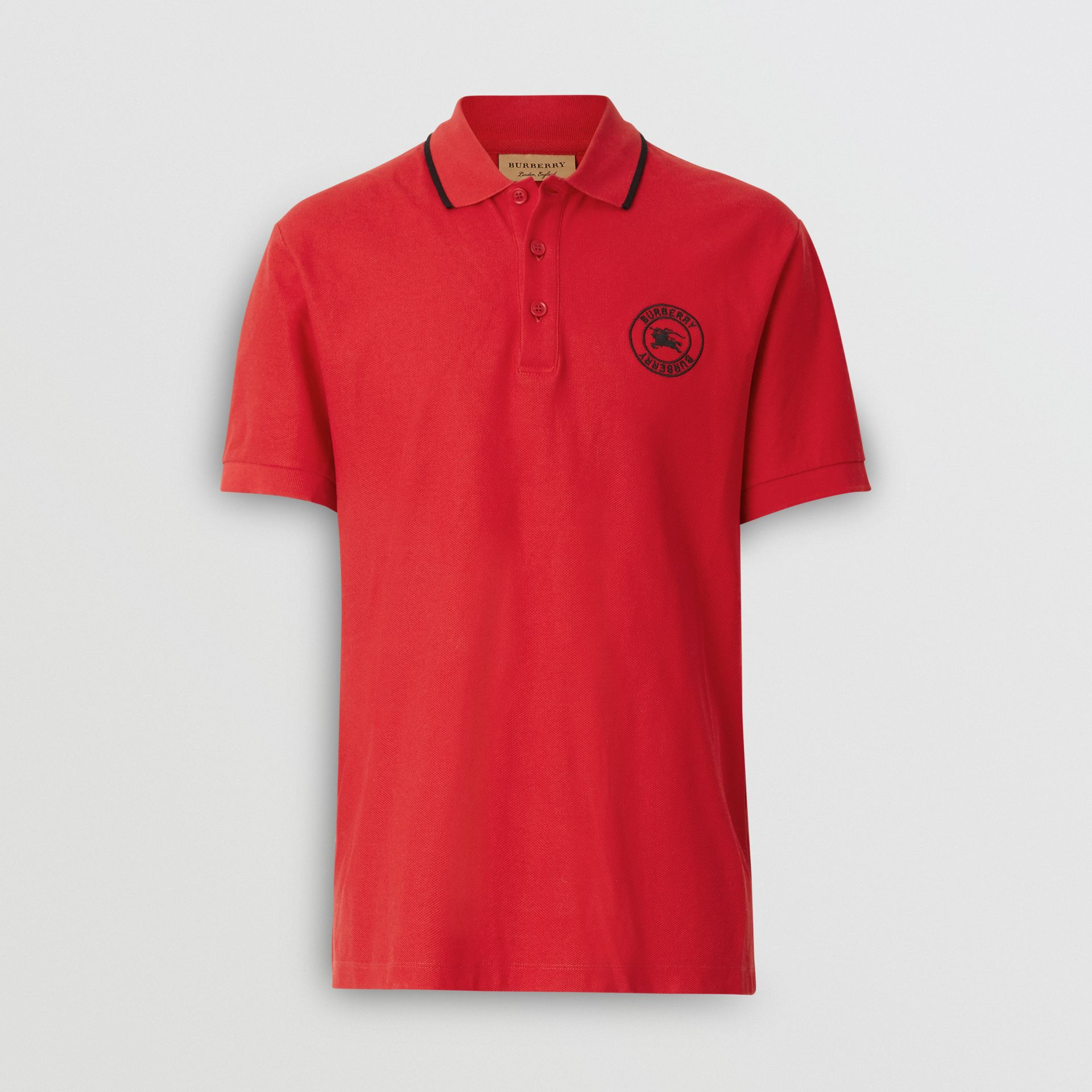 Embroidered Logo Cotton Piqué Polo Shirt in Military Red - Men | Burberry - gallery image 3