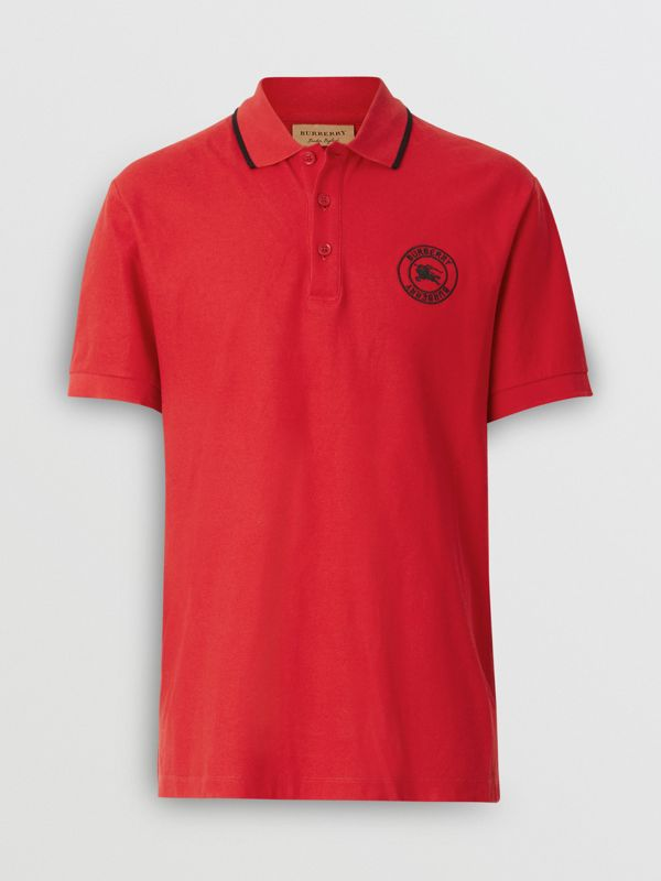Embroidered Logo Cotton Piqué Polo Shirt in Military Red - Men | Burberry - cell image 3