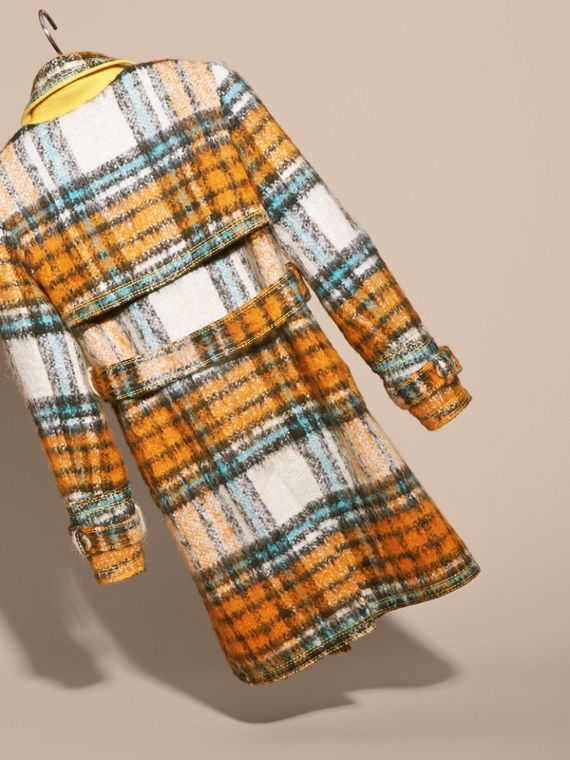 Orange umber Brushed Tartan Wool Mohair Blend Coat - cell image 3