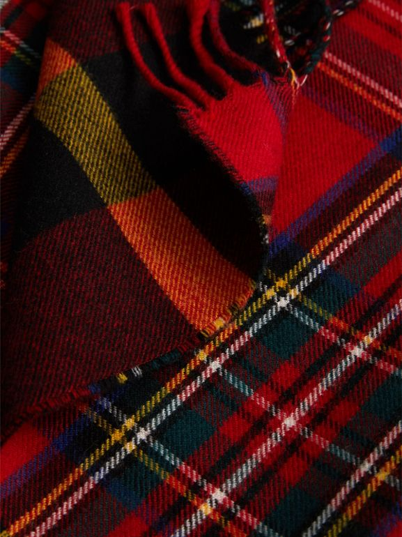 Check Merino Wool Scarf in Bright Red | Burberry - cell image 1