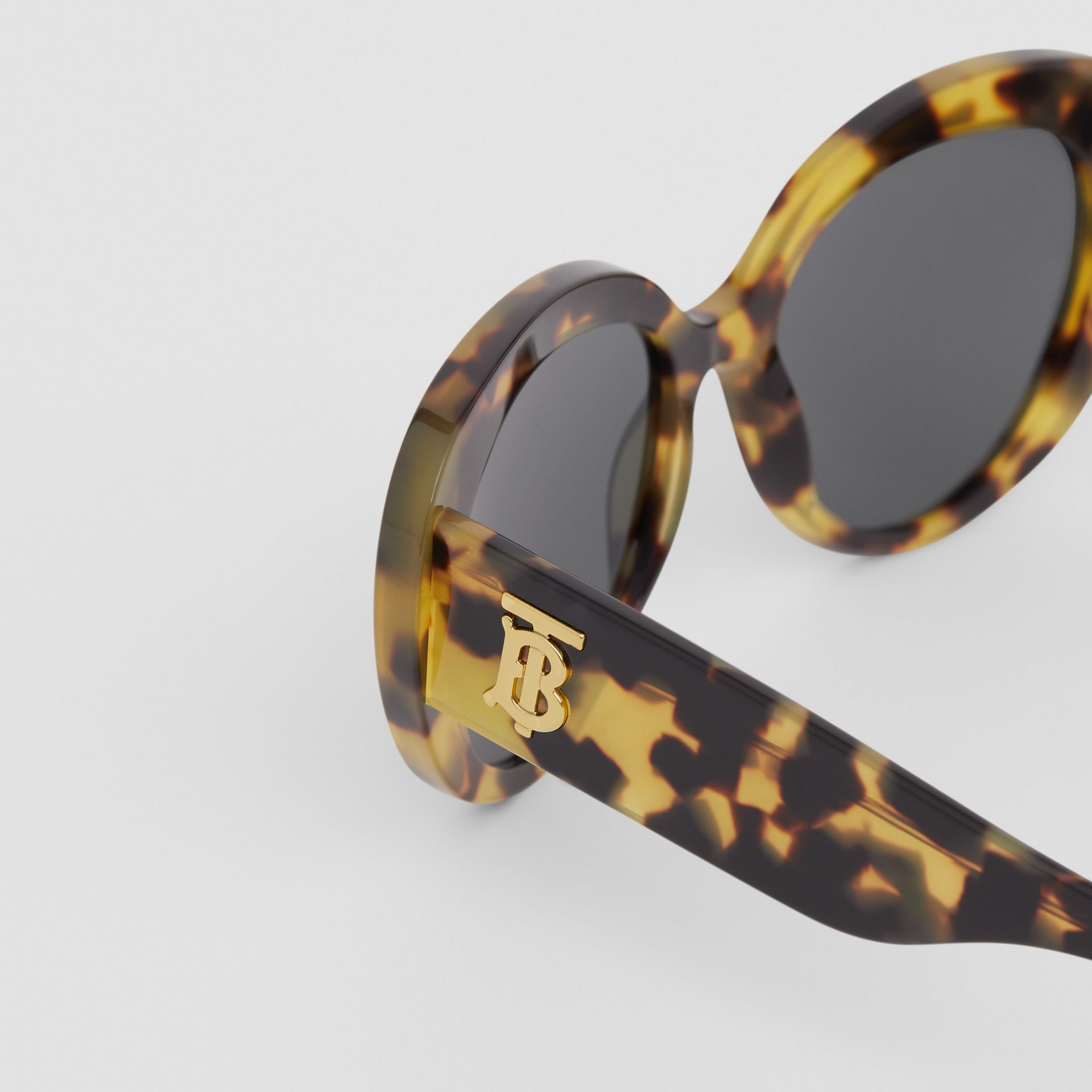 Monogram Motif Cat-eye Frame Sunglasses in Bright Tortoiseshell - Women | Burberry United Kingdom - gallery image 1