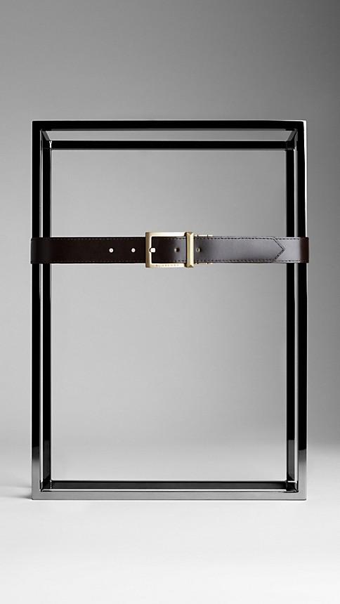 Chocolate Haymarket Check Reversible Leather Belt - Image 3