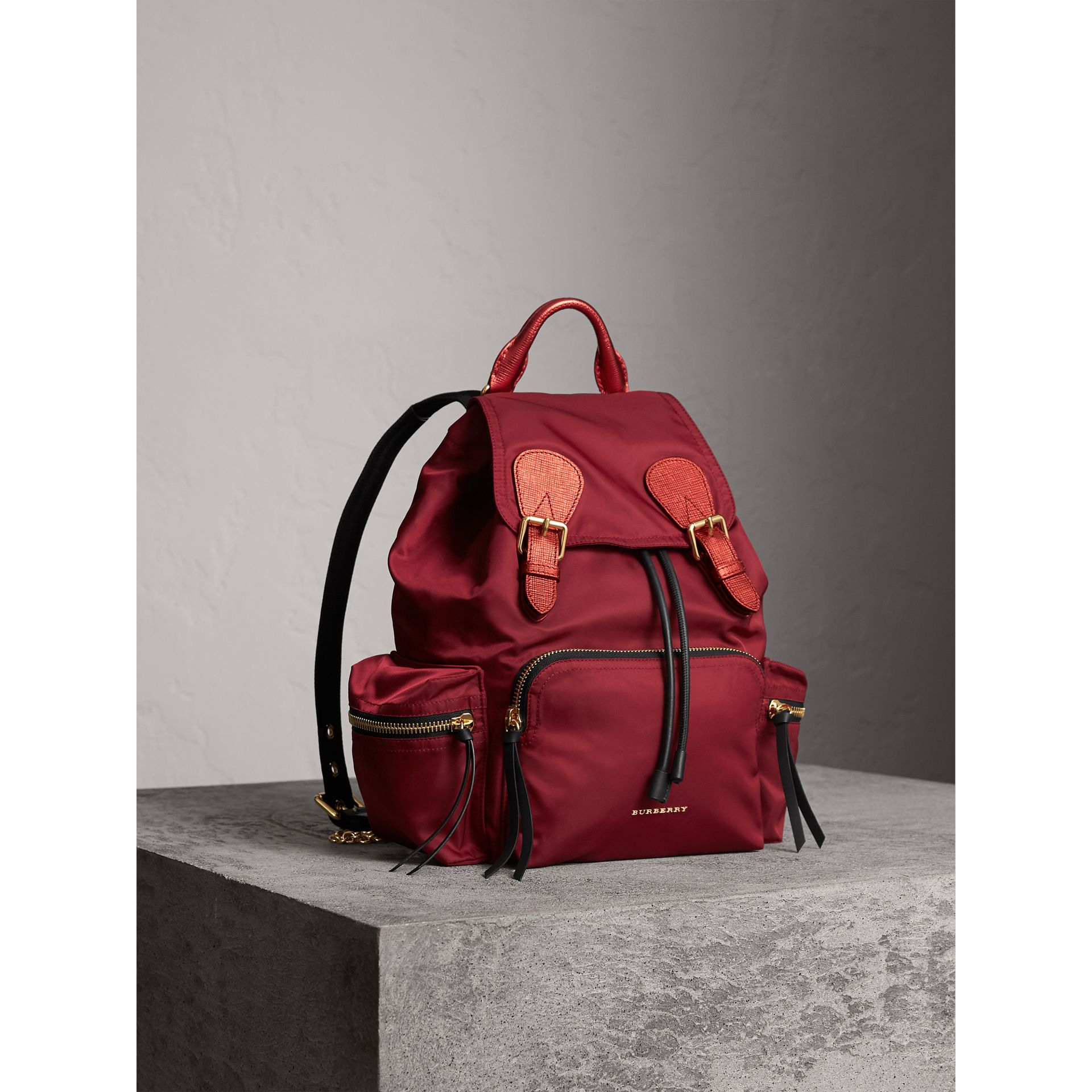 The Medium Rucksack in Technical Nylon and Leather in Crimson Red - Women | Burberry Australia - gallery image 7