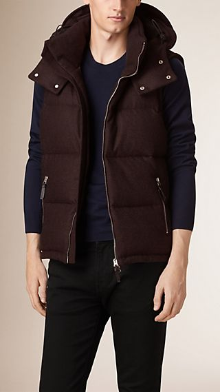 Fur Trim Down-filled Virgin Wool Cashmere Gilet