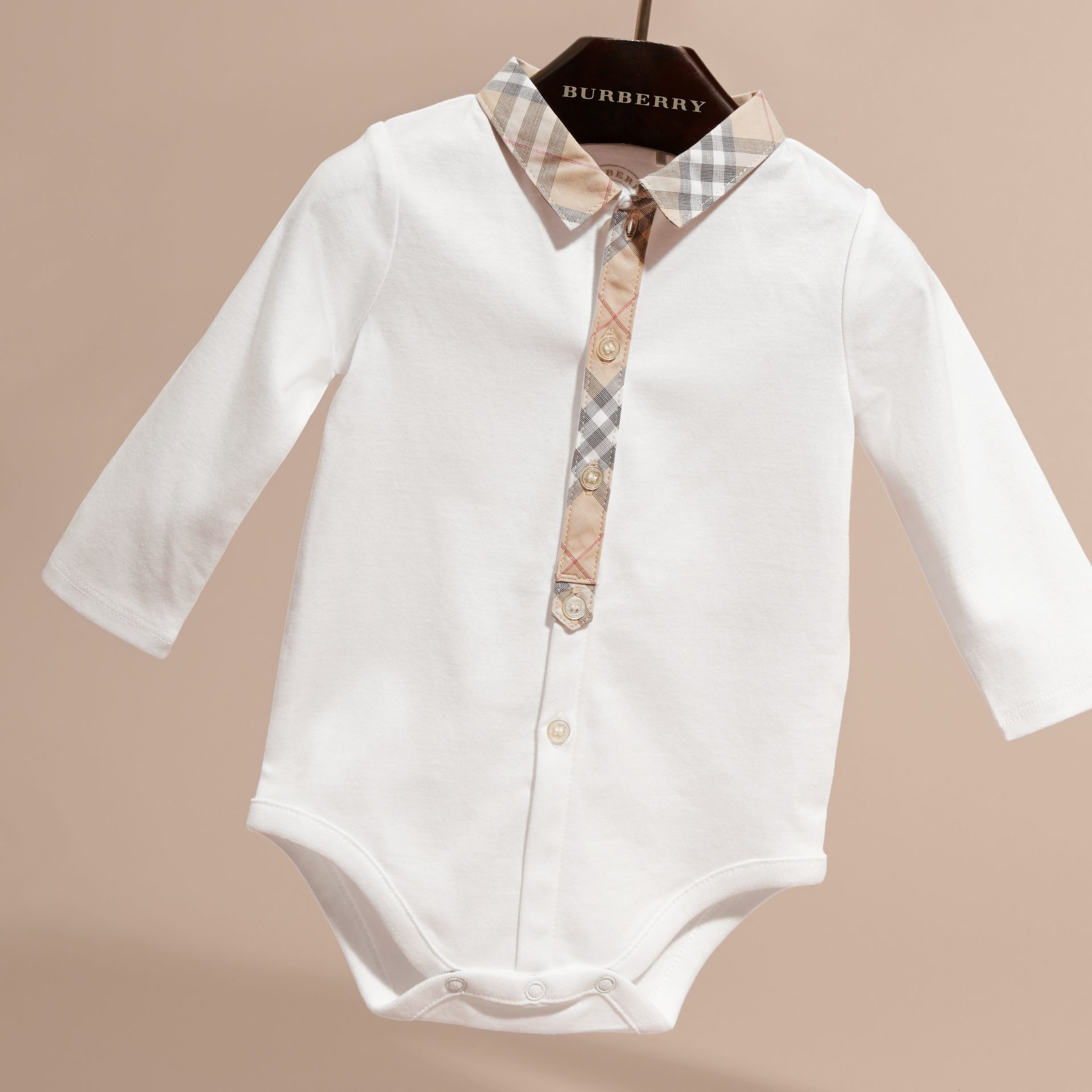 Long-sleeved Check Detail Cotton Bodysuit in White | Burberry - gallery image 3
