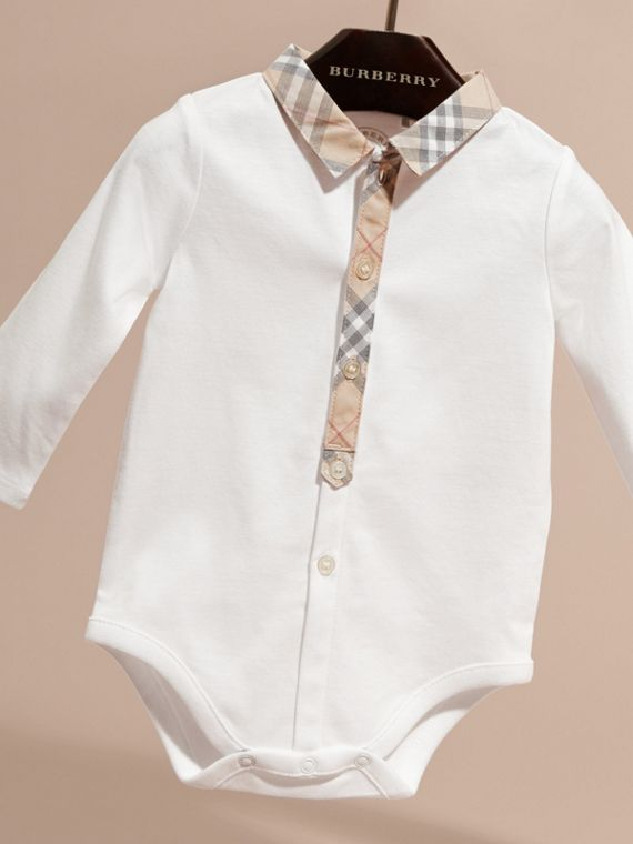 Long-sleeved Check Detail Cotton Bodysuit in White | Burberry - cell image 2