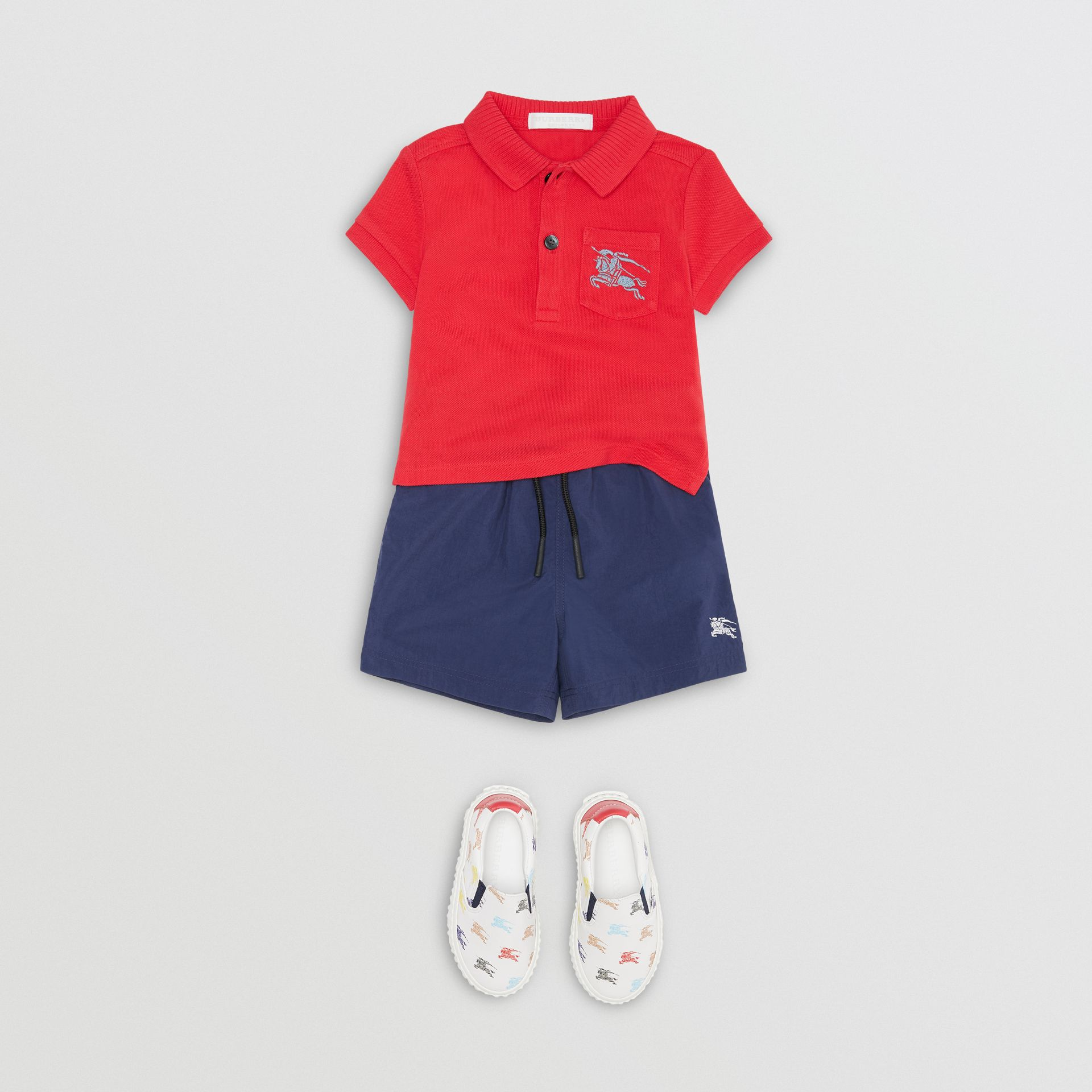 EKD Logo Cotton Piqué Polo Shirt in Bright Red - Children | Burberry United Kingdom - gallery image 2