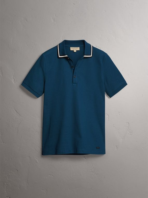 Striped Collar Cotton Piqué Polo Shirt in Canvas Blue - Men | Burberry - cell image 3