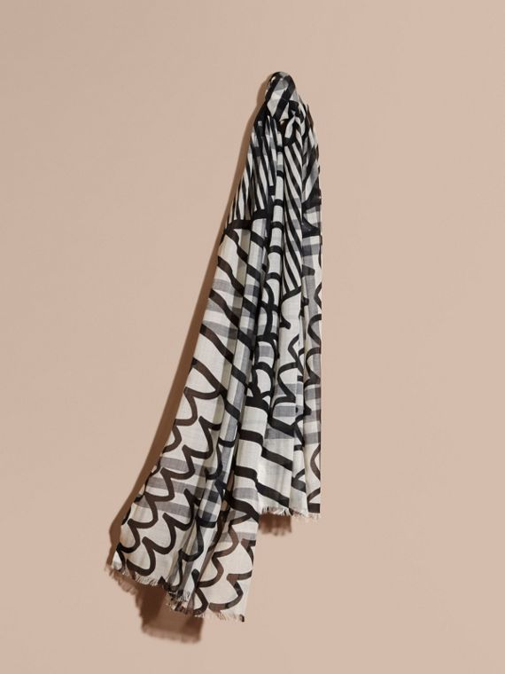 Check Wool Silk Scarf with Trompe L'oeil Print in Natural White/black