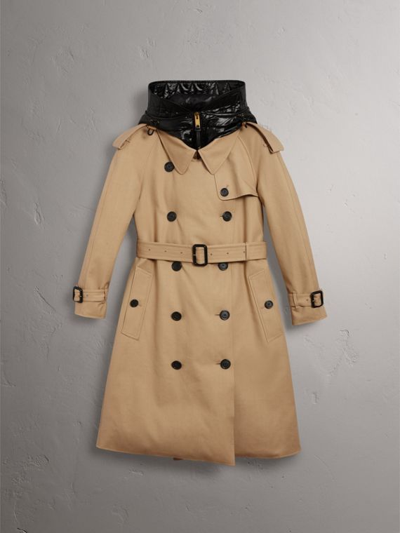 Reversible Down-filled Cotton Gabardine Trench Coat in Honey - Women | Burberry - cell image 3