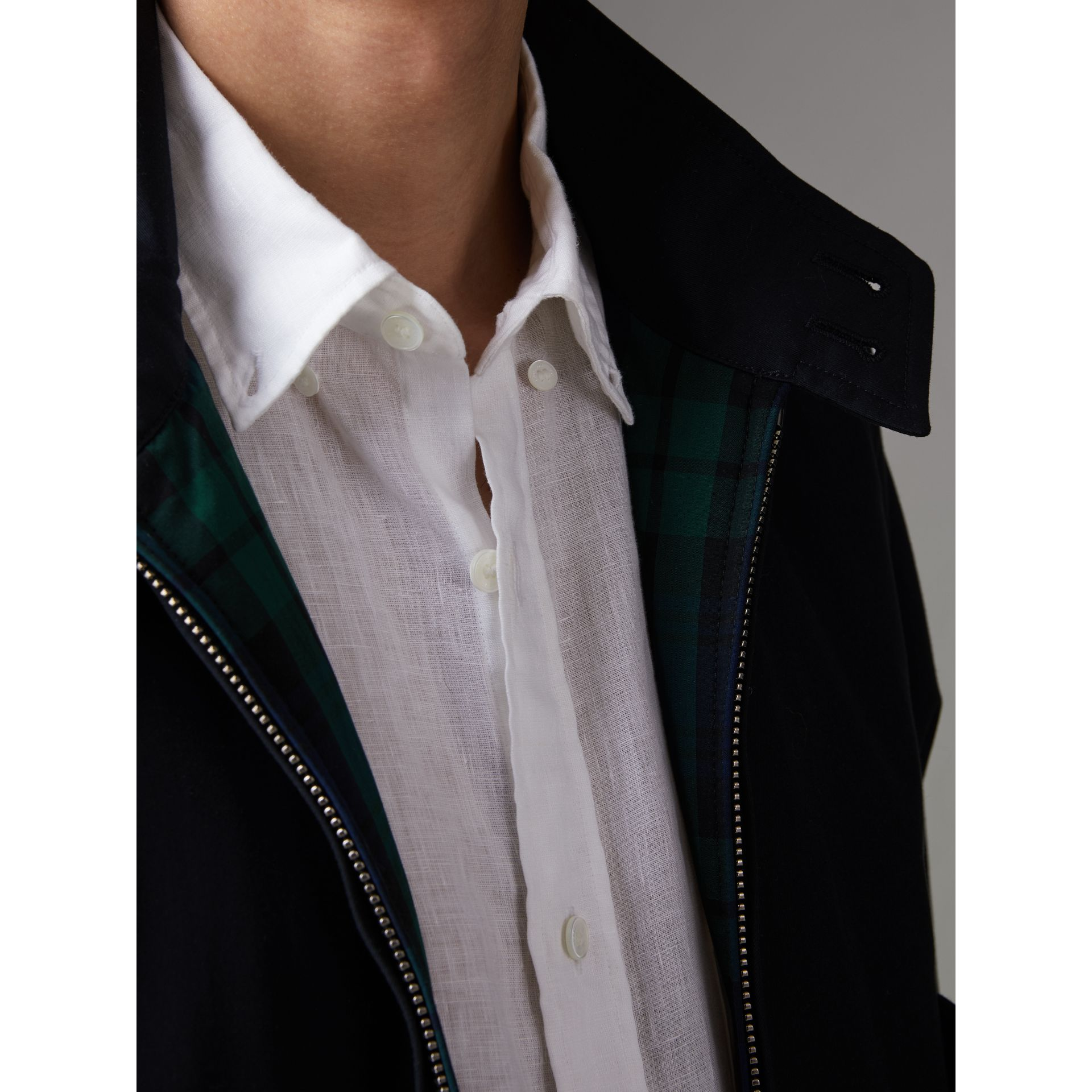 Cotton Gabardine Harrington Jacket in Navy - Men | Burberry - gallery image 4