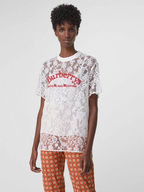 Embroidered Archive Logo Lace Top in Natural White