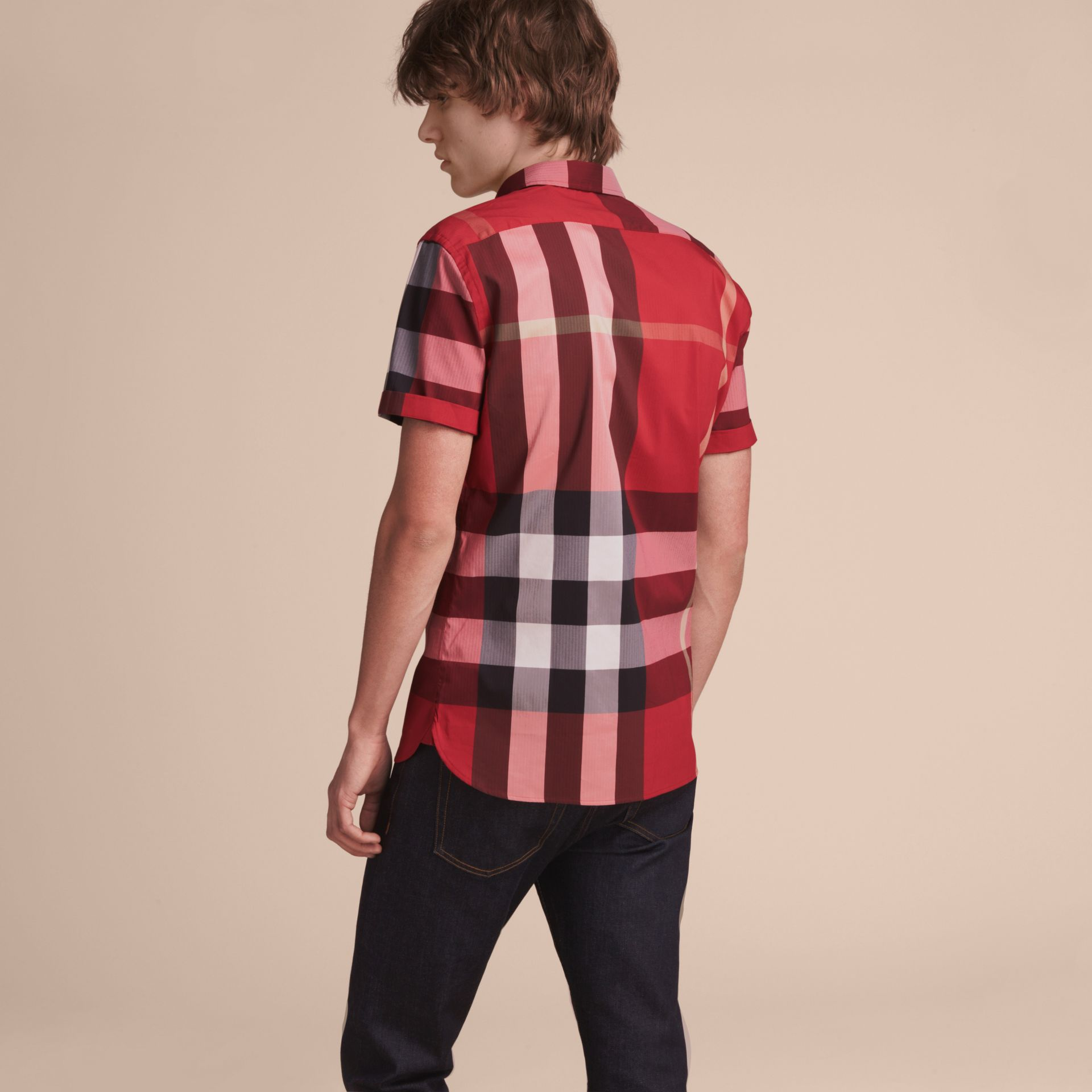 Short-sleeved Check Stretch Cotton Blend Shirt Parade Red - gallery image 3