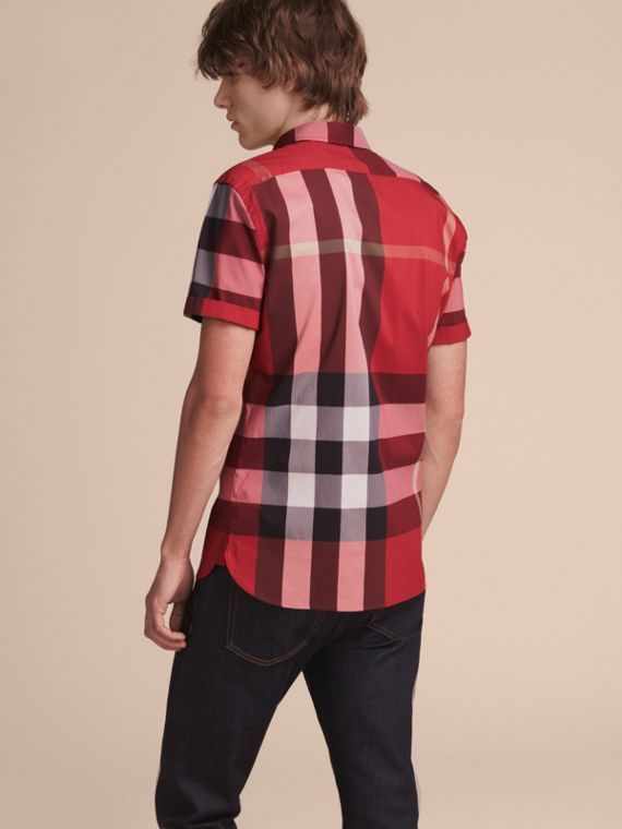 Short-sleeve Check Stretch Cotton Blend Shirt in Parade Red - Men | Burberry Canada - cell image 2