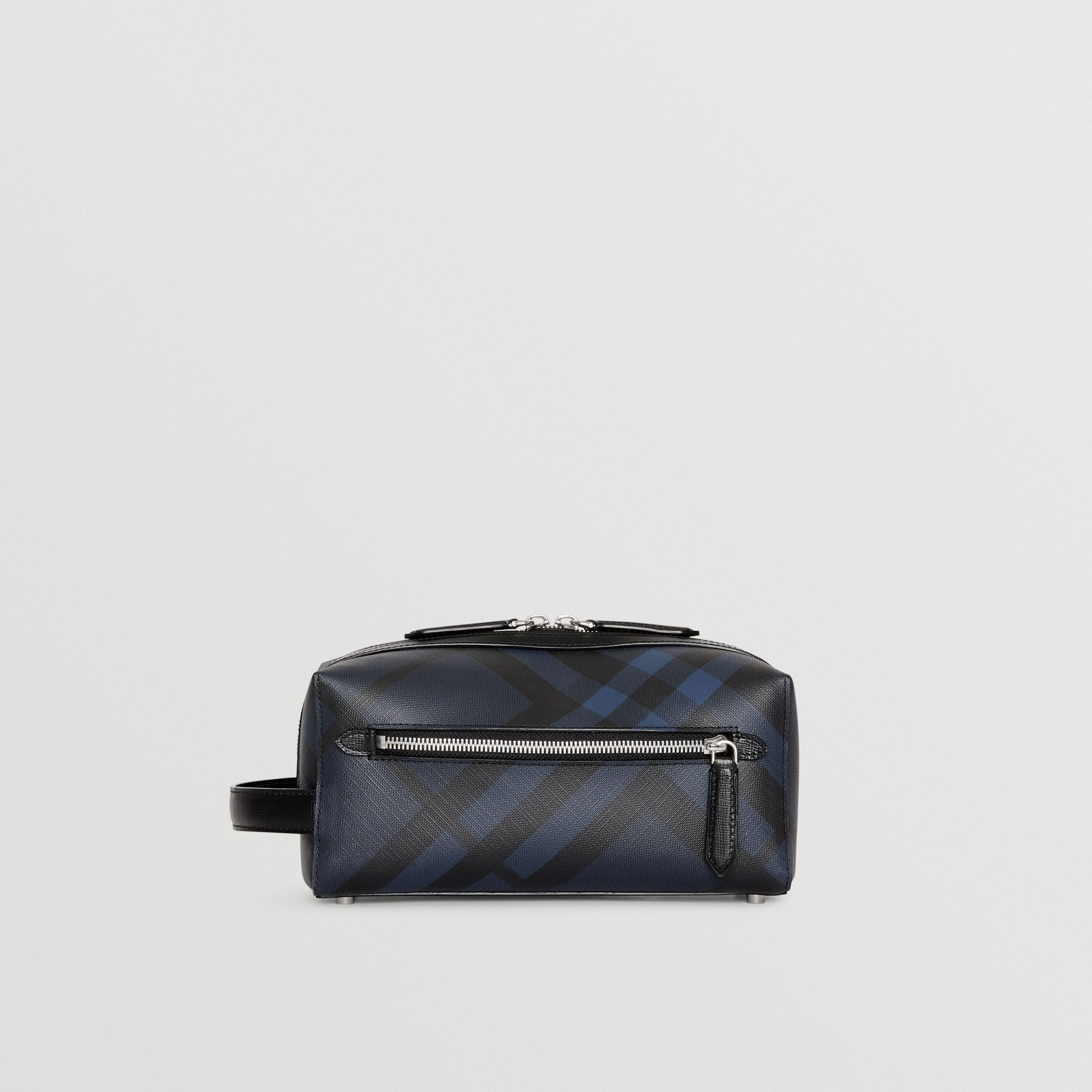 Trousse con pelle e motivo London check (Navy/nero) | Burberry - immagine della galleria 7
