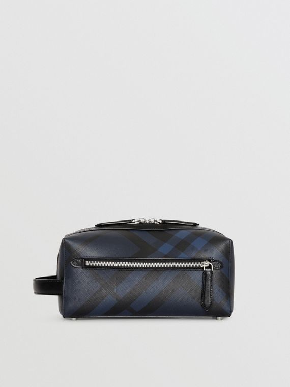 London Check and Leather Pouch (Marineblau/schwarz)