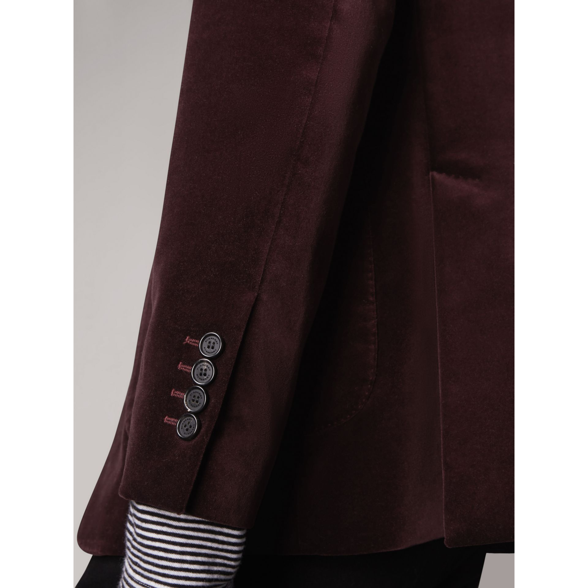 Soho Fit Velvet Tailored Jacket in Blackcurrant - Men | Burberry - gallery image 4