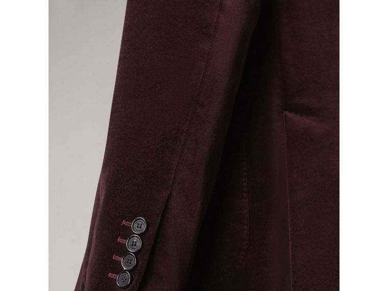 Soho Fit Velvet Tailored Jacket in Blackcurrant - Men | Burberry - cell image 4