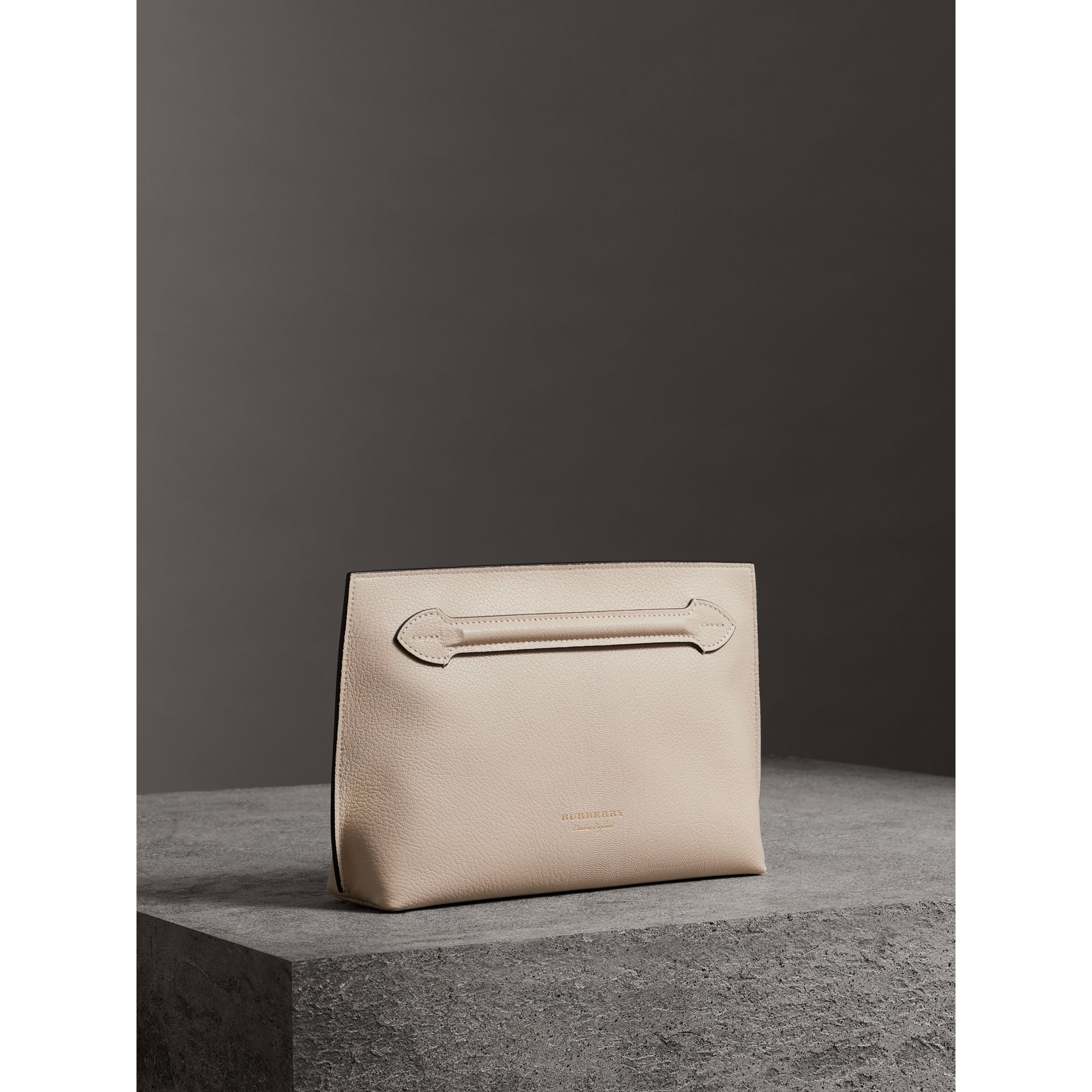 Grainy Leather Wristlet Clutch in Stone - Women | Burberry - gallery image 7
