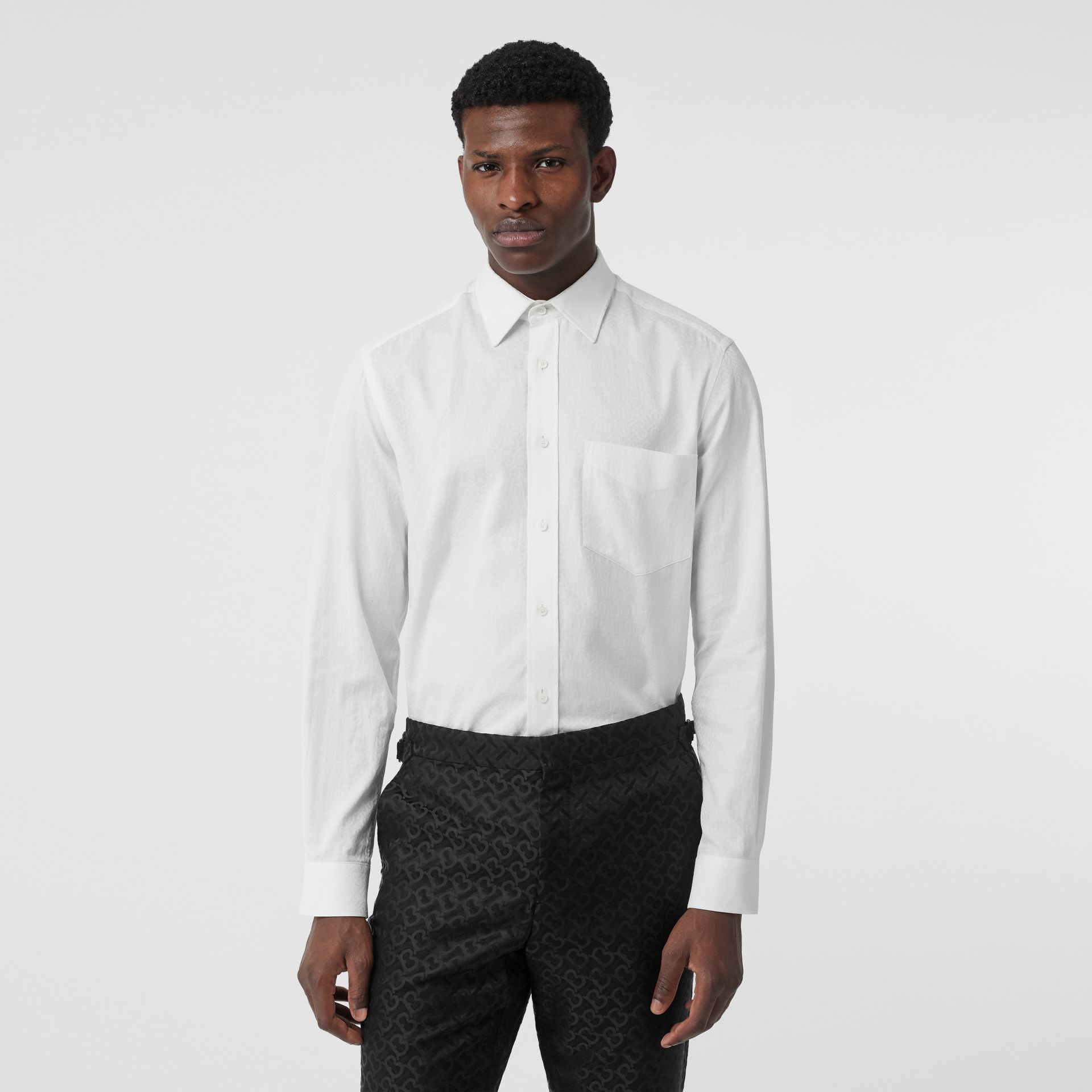 Classic Fit Monogram Cotton Jacquard Shirt in White - Men | Burberry - gallery image 0