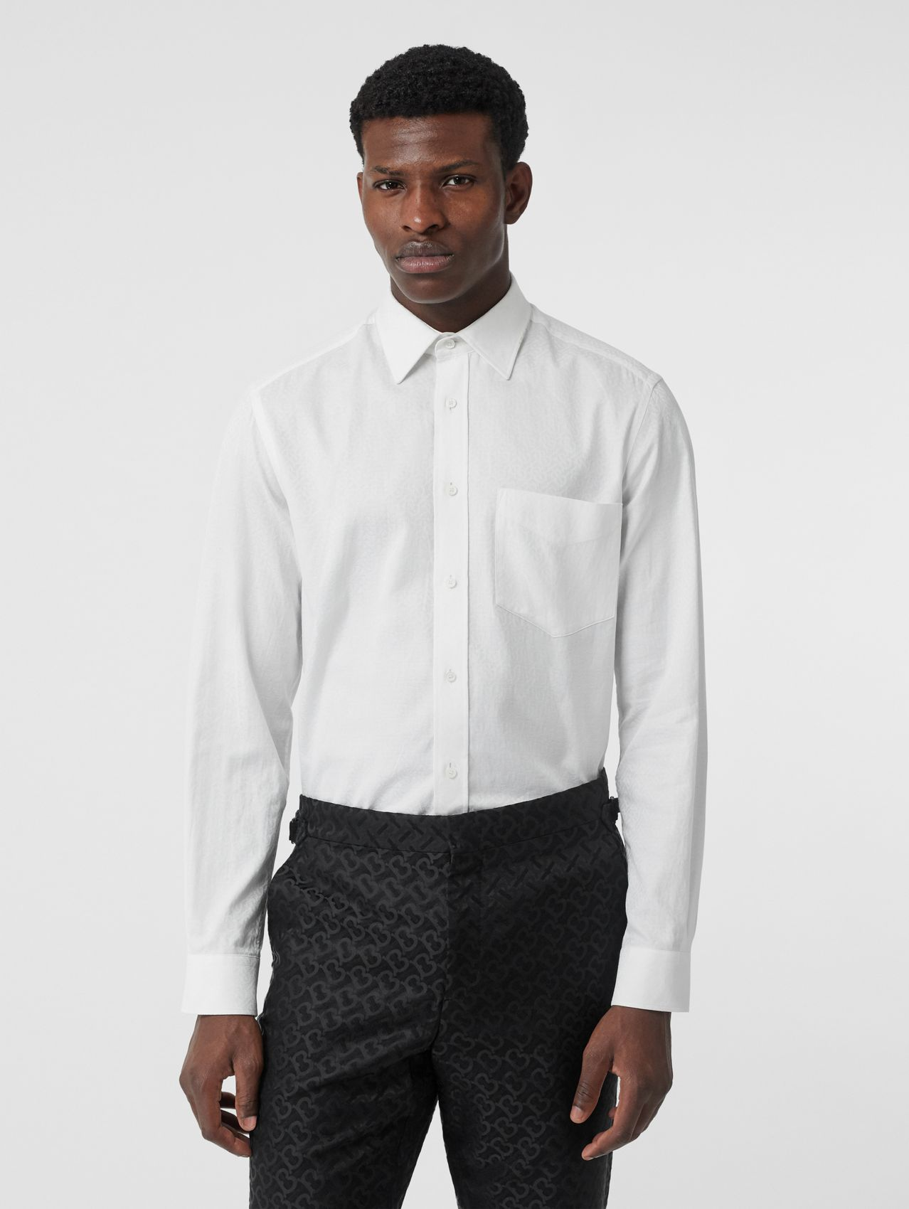 Classic Fit Monogram Cotton Jacquard Shirt in White