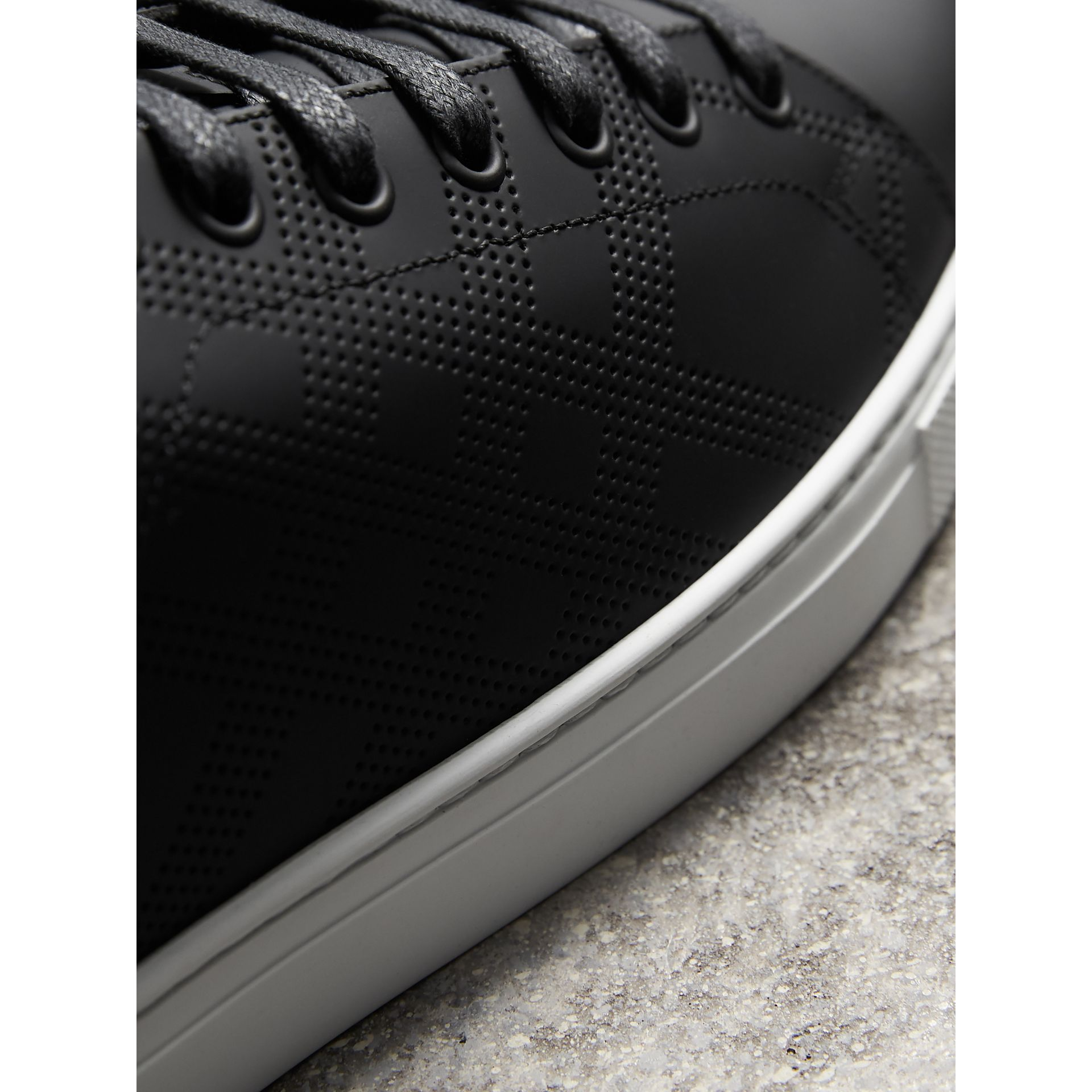Perforated Check Leather Trainers in Black/deep Claret Melange | Burberry Hong Kong - gallery image 2