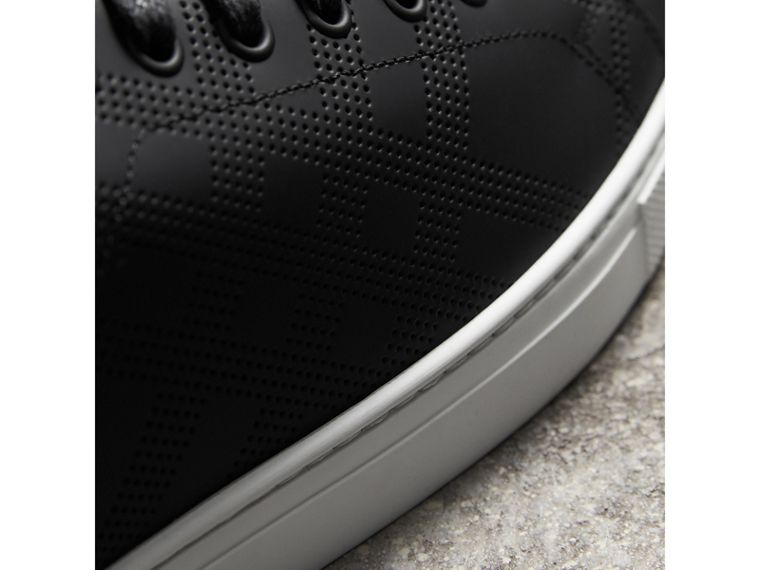 Perforated Check Leather Sneakers in Black - Men | Burberry - cell image 1