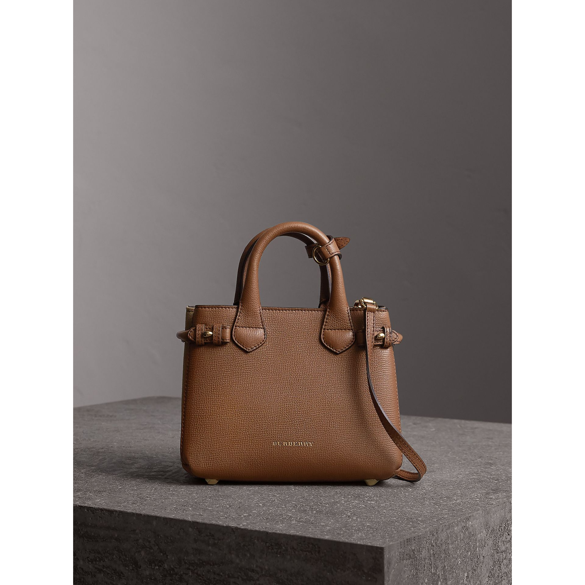 The Baby Banner in Leather and House Check in Tan - Women | Burberry - gallery image 7